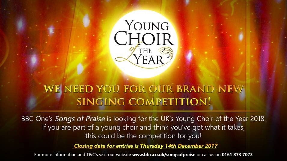 BBC1 Songs of Praise is looking for Young Choir of the Year 2018