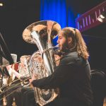 photo of 2nd year student performing on the tuba during a music centre concert